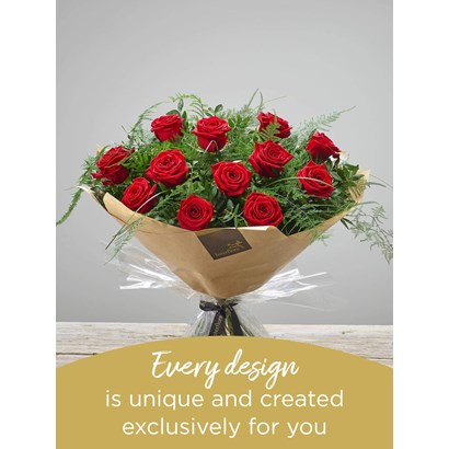 12 RED ROSE HAND-TIED