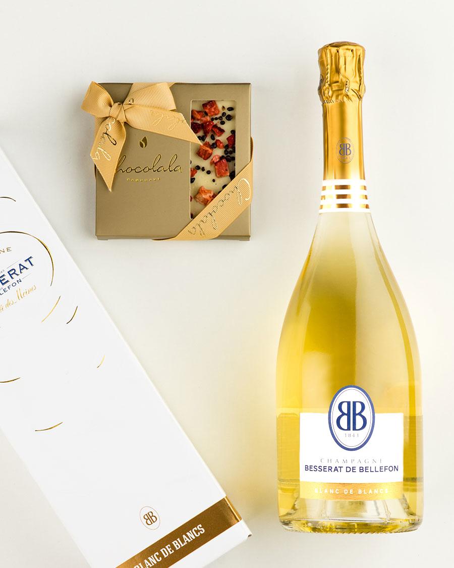 Kinkekott Besserat de Bellefon Blanc šampanja ja maasikatahvliga