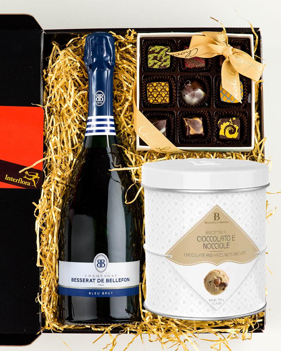 Besserat de Bellefon Brut šampanja, käsitöökommikarp ja gurmeeküpsised