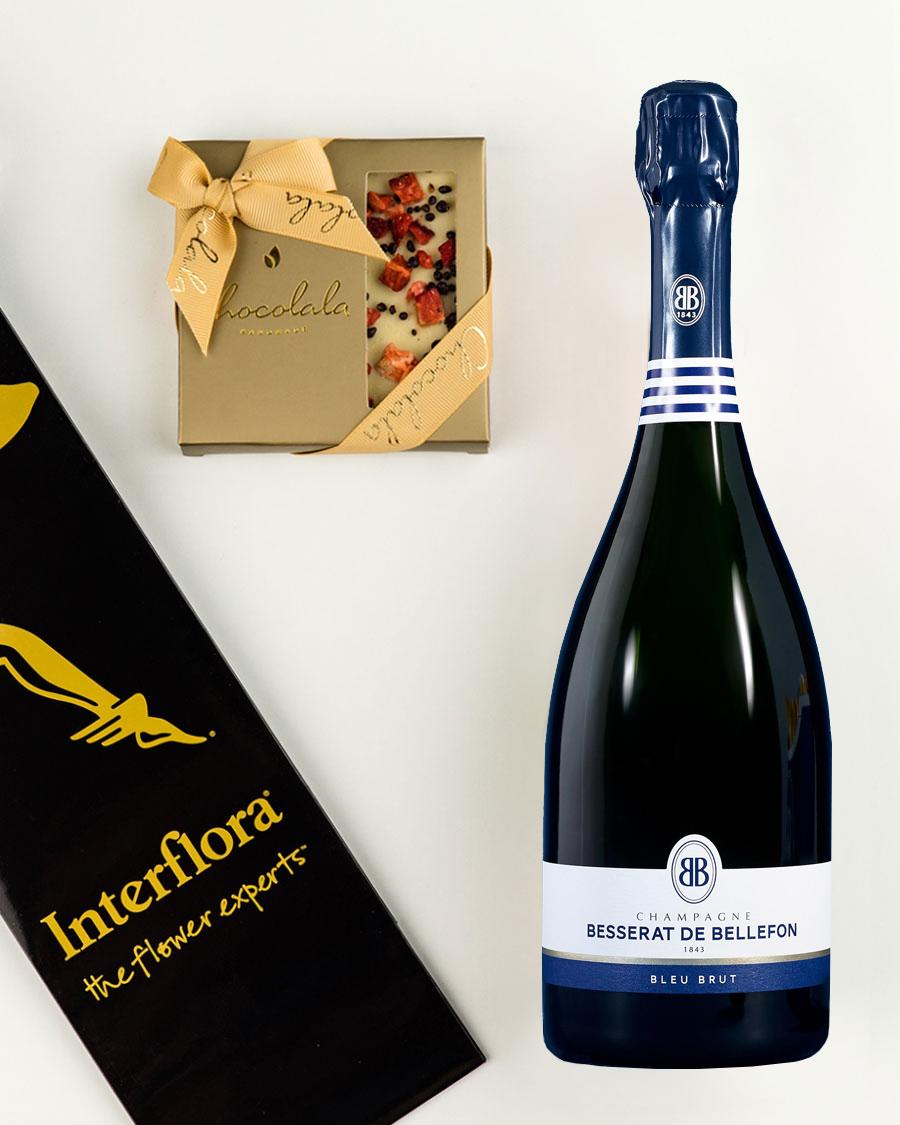 Kinkekott Besserat de Bellefon Brut šampanja ja maasikatahvliga